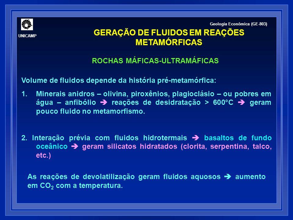 COMPOSIÇÃO DE FLUIDOS METAMÓRFICOS Durante o metamorfismo progressivo, fluidos são gerados: por reações de devolatilização; na cristalização de fundidos silicáticos.