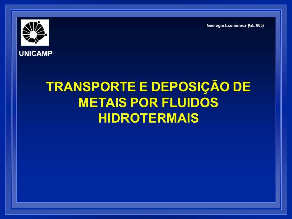 FLUIDOS HIDROTERMAIS: TRANSPORTE DE METAIS Metais não são transportados como íons simples complexos iônicos Quais os c omplexos mais importantes no transporte de metais.