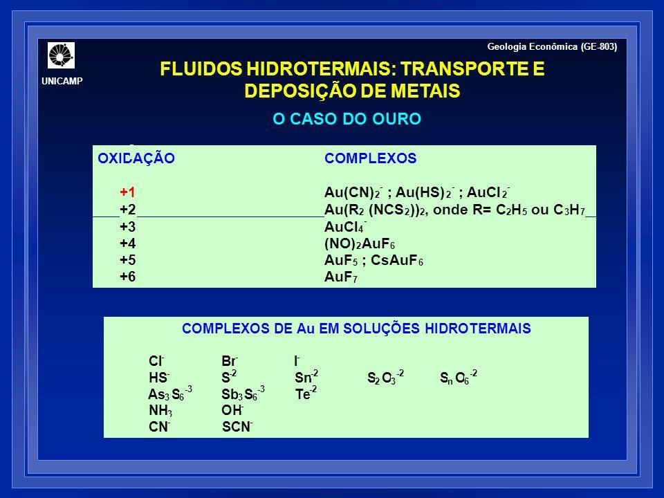 O CASO DO OURO Estabilidade de ligantes Disponibilidade de ligantes COMPLEXOSCONSTANTE DE EQUILÍBRIO DE FORMAÇÃO AuI 2 - 19.0 AuBr 2 - 12.4 AuCl 2 - 9.2 Au(HS) 2 - 30.1 AuHS o 24.5 Au(NH 3 ) 2 + 26.5 Au(CN) 2 - 38.7 Geologia Econômica (GE-803) UNICAMP