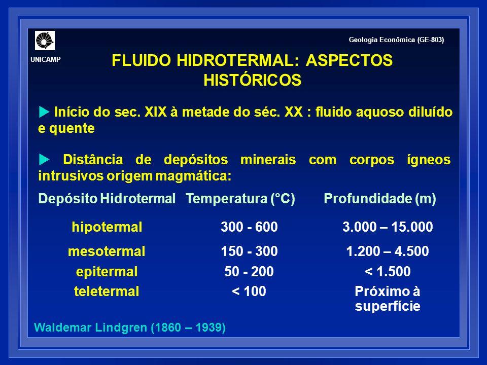FLUIDO HIDROTERMAL: ASPECTOS HISTÓRICOS Questões em aberto: Estado físico.