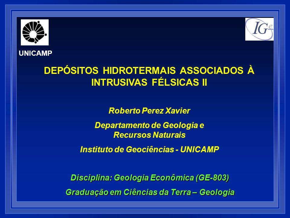 Roberto Perez Xavier Departamento de Geologia e Recursos Naturais Instituto de Geociências - UNICAMP UNICAMP Disciplina: Geologia Econômica (GE-803) G