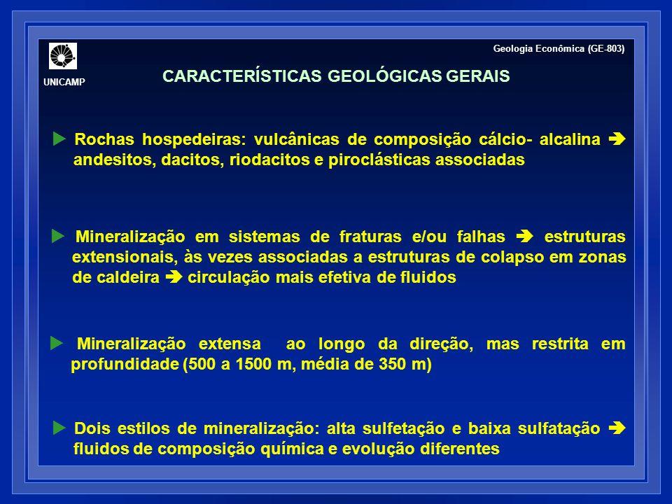 Rochas hospedeiras: vulcânicas de composição cálcio- alcalina andesitos, dacitos, riodacitos e piroclásticas associadas Mineralização em sistemas de f