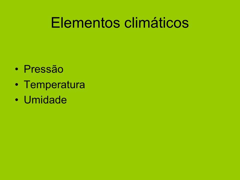 Elementos climáticos Pressão Temperatura Umidade