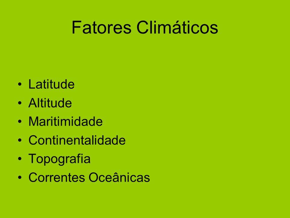 Fatores Climáticos Latitude Altitude Maritimidade Continentalidade Topografia Correntes Oceânicas