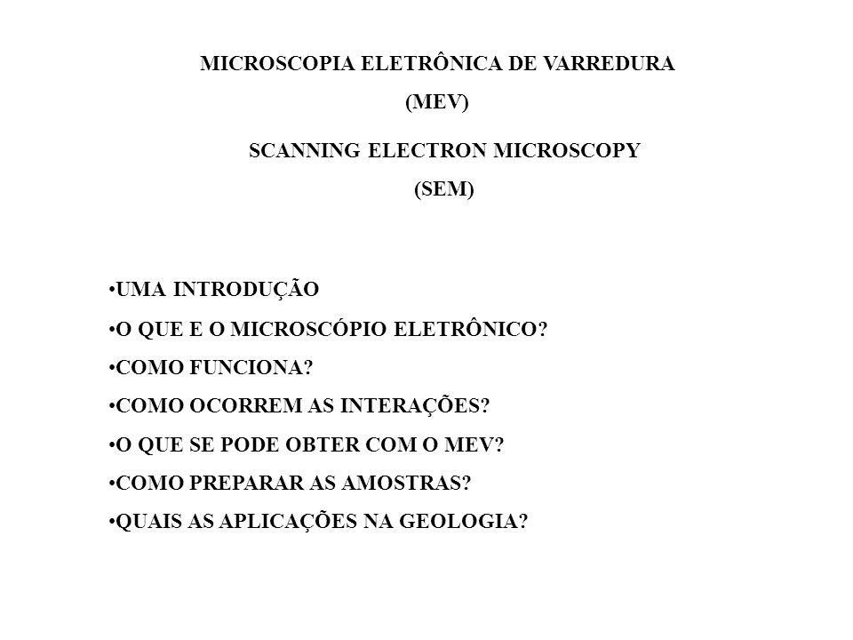 MICROSCOPIA ELETRÔNICA DE VARREDURA (MEV) SCANNING ELECTRON MICROSCOPY (SEM) UMA INTRODUÇÃO O QUE E O MICROSCÓPIO ELETRÔNICO? COMO FUNCIONA? COMO OCOR