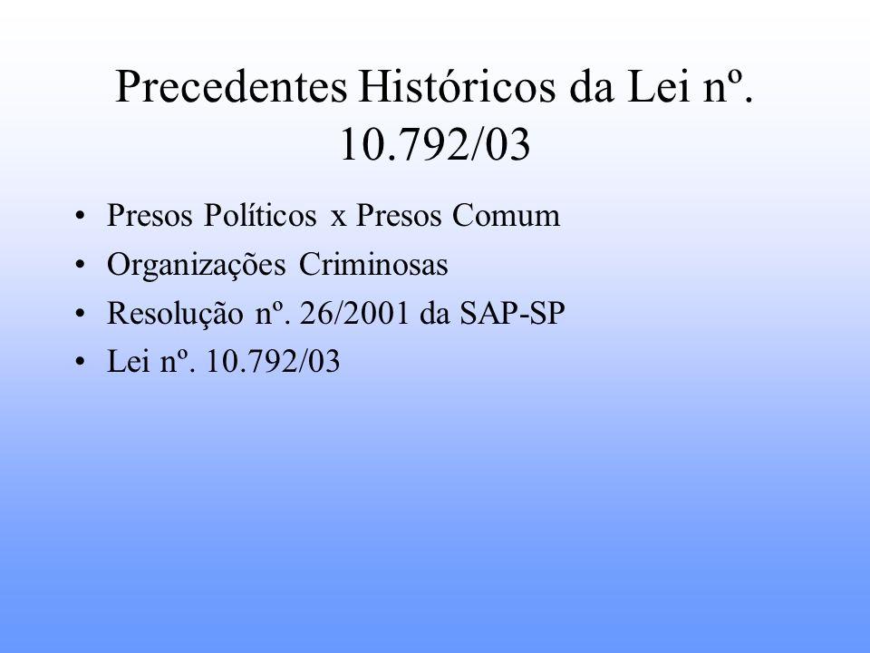 Precedentes Históricos da Lei nº. 10.792/03 Presos Políticos x Presos Comum Organizações Criminosas Resolução nº. 26/2001 da SAP-SP Lei nº. 10.792/03