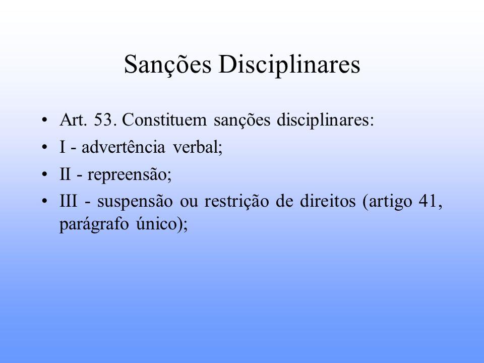 Sanções Disciplinares Art. 53. Constituem sanções disciplinares: I - advertência verbal; II - repreensão; III - suspensão ou restrição de direitos (ar