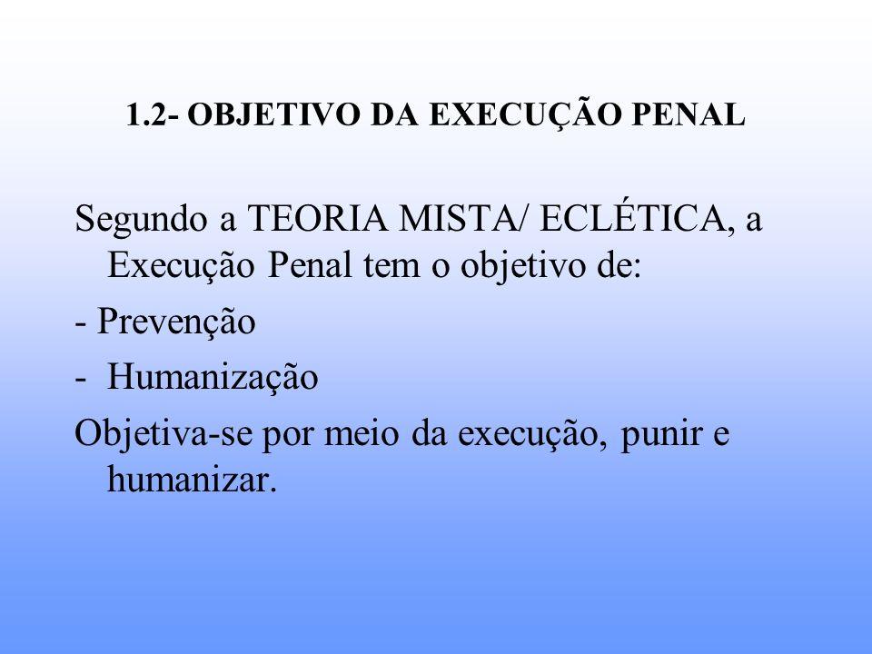 1.2- OBJETIVO DA EXECUÇÃO PENAL Segundo a TEORIA MISTA/ ECLÉTICA, a Execução Penal tem o objetivo de: - Prevenção -Humanização Objetiva-se por meio da