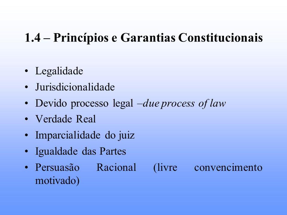 1.4 – Princípios e Garantias Constitucionais Legalidade Jurisdicionalidade Devido processo legal –due process of law Verdade Real Imparcialidade do ju