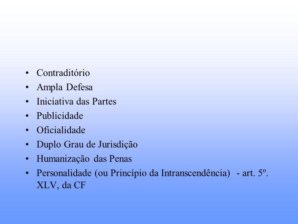 Contraditório Ampla Defesa Iniciativa das Partes Publicidade Oficialidade Duplo Grau de Jurisdição Humanização das Penas Personalidade (ou Princípio d