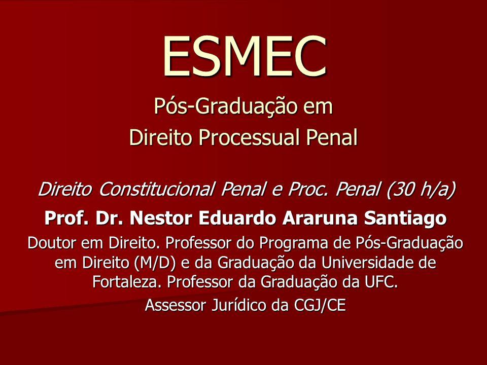 ESMEC Pós-Graduação em Direito Processual Penal Direito Constitucional Penal e Proc. Penal (30 h/a) Prof. Dr. Nestor Eduardo Araruna Santiago Doutor e