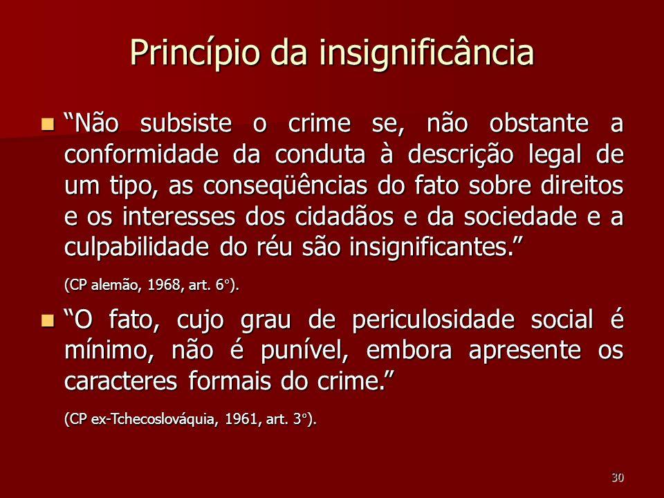 30 Princípio da insignificância Não subsiste o crime se, não obstante a conformidade da conduta à descrição legal de um tipo, as conseqüências do fato