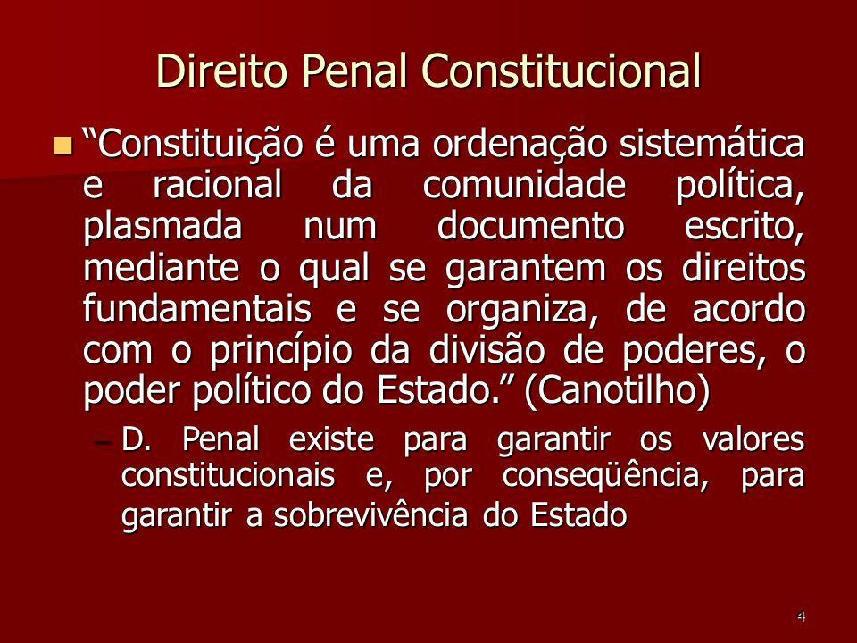 4 Direito Penal Constitucional Constituição é uma ordenação sistemática e racional da comunidade política, plasmada num documento escrito, mediante o