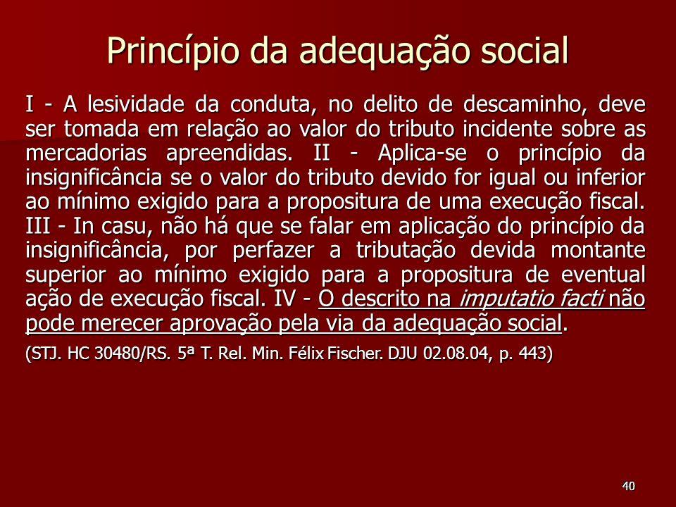 40 Princípio da adequação social I - A lesividade da conduta, no delito de descaminho, deve ser tomada em relação ao valor do tributo incidente sobre