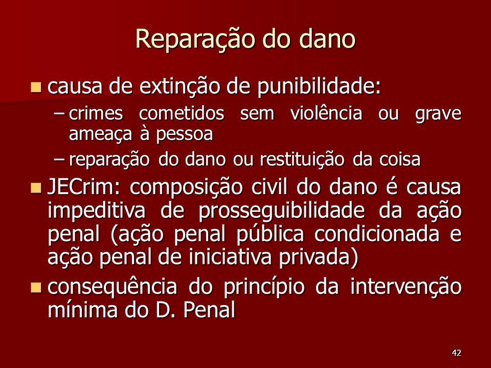 42 Reparação do dano causa de extinção de punibilidade: causa de extinção de punibilidade: –crimes cometidos sem violência ou grave ameaça à pessoa –r