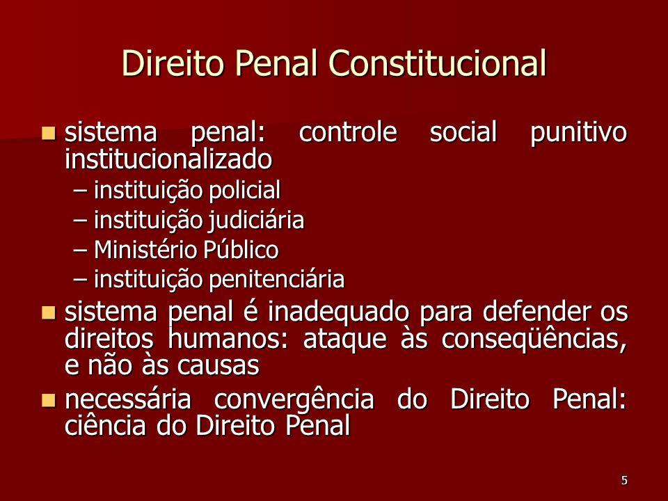 5 Direito Penal Constitucional sistema penal: controle social punitivo institucionalizado sistema penal: controle social punitivo institucionalizado –