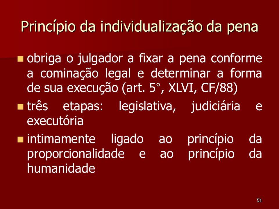 51 Princípio da individualização da pena obriga o julgador a fixar a pena conforme a cominação legal e determinar a forma de sua execução (art. 5°, XL