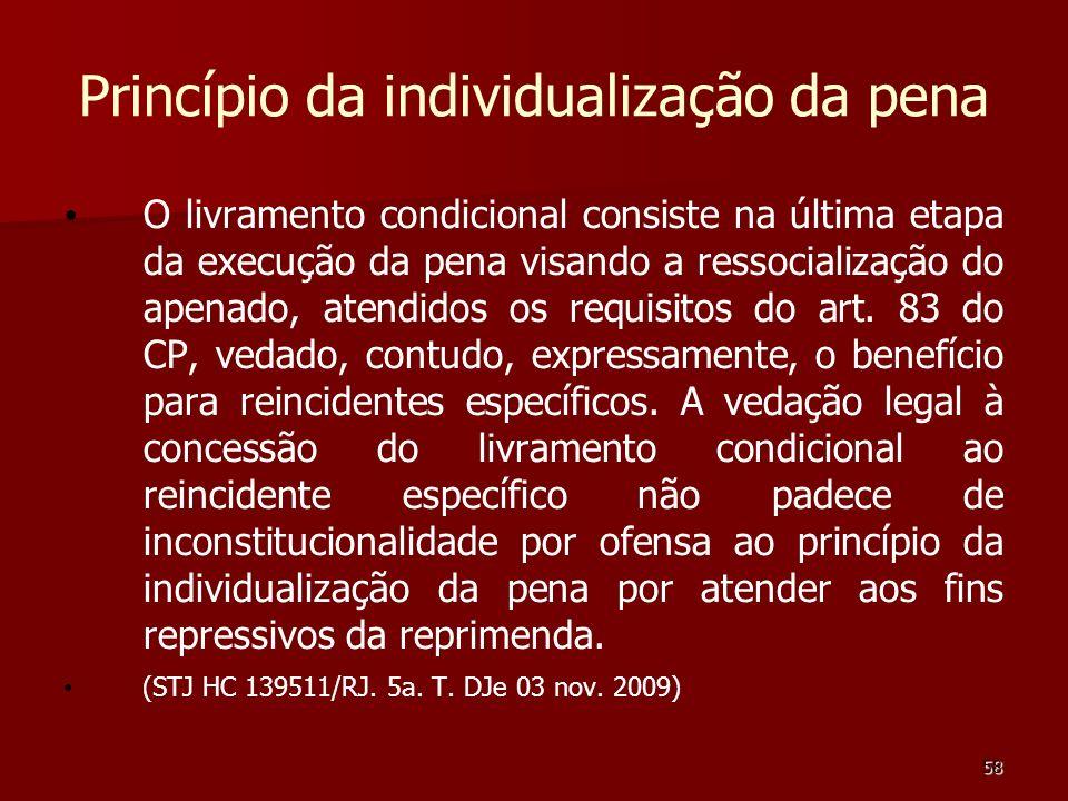 58 Princípio da individualização da pena O livramento condicional consiste na última etapa da execução da pena visando a ressocialização do apenado, a