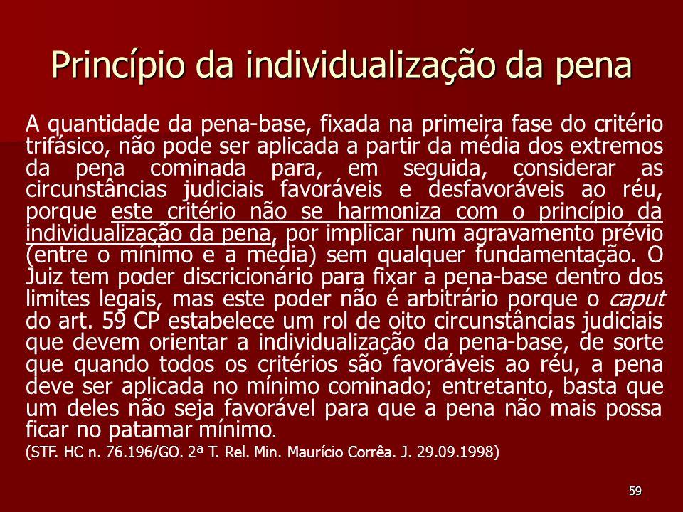 59 Princípio da individualização da pena A quantidade da pena-base, fixada na primeira fase do critério trifásico, não pode ser aplicada a partir da m