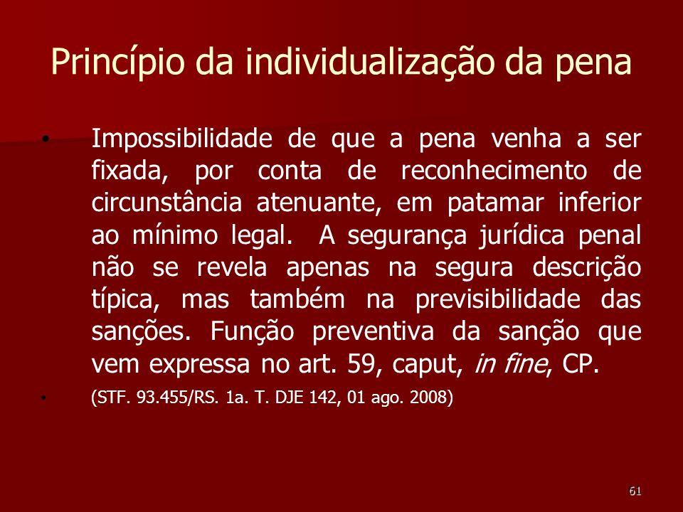 61 Princípio da individualização da pena Impossibilidade de que a pena venha a ser fixada, por conta de reconhecimento de circunstância atenuante, em