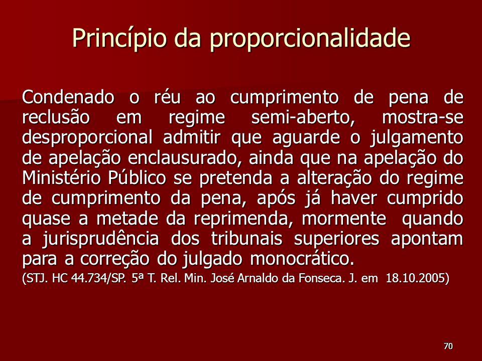 70 Princípio da proporcionalidade Condenado o réu ao cumprimento de pena de reclusão em regime semi-aberto, mostra-se desproporcional admitir que agua