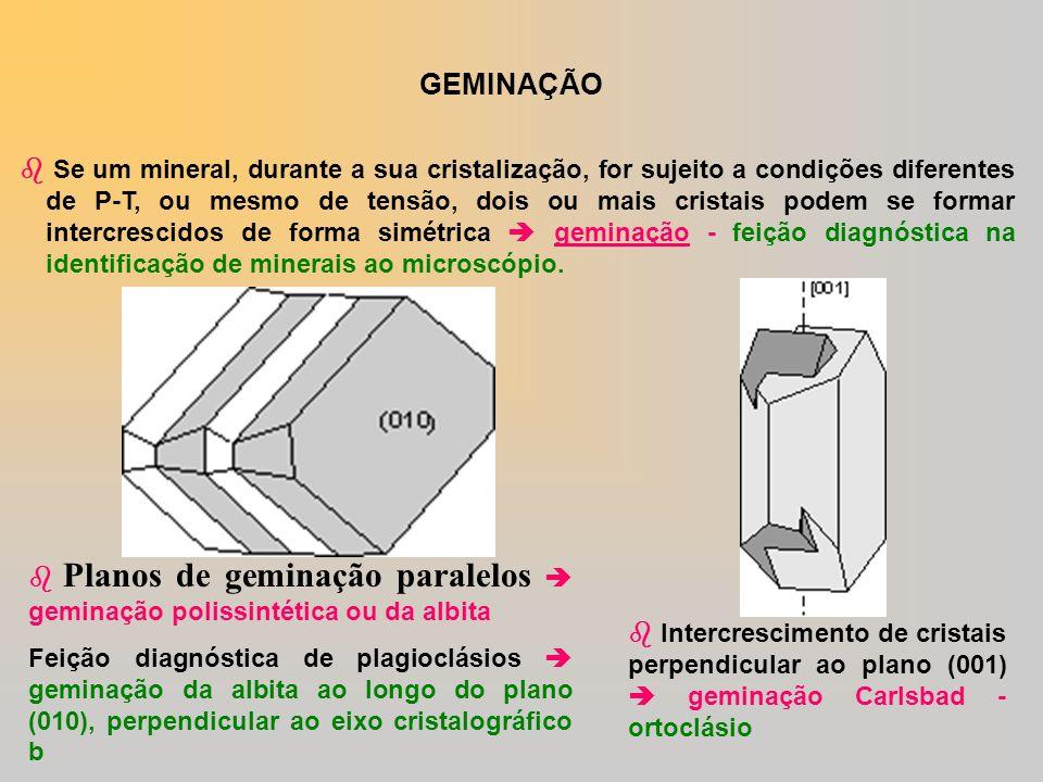 GEMINAÇÃO Se um mineral, durante a sua cristalização, for sujeito a condições diferentes de P-T, ou mesmo de tensão, dois ou mais cristais podem se fo