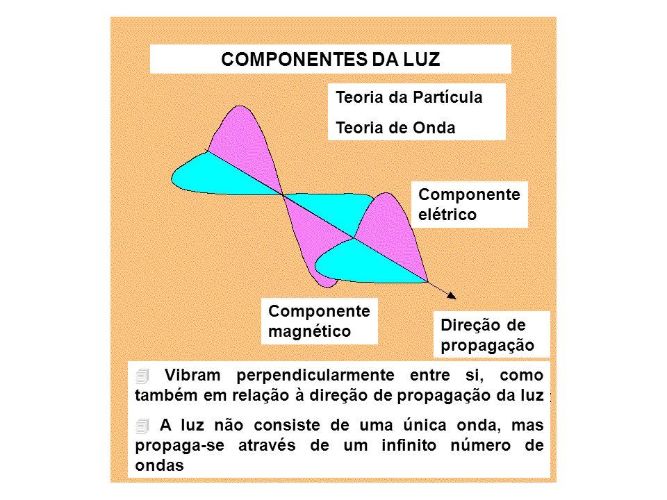 COMPONENTES DA LUZ Teoria da Partícula Teoria de Onda Componente elétrico Componente magnético Direção de propagação Vibram perpendicularmente entre s