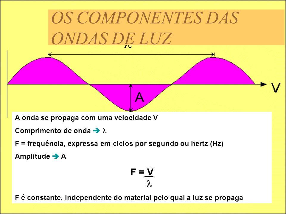 A onda se propaga com uma velocidade V Comprimento de onda F = frequência, expressa em ciclos por segundo ou hertz (Hz) Amplitude A F = V F é constant