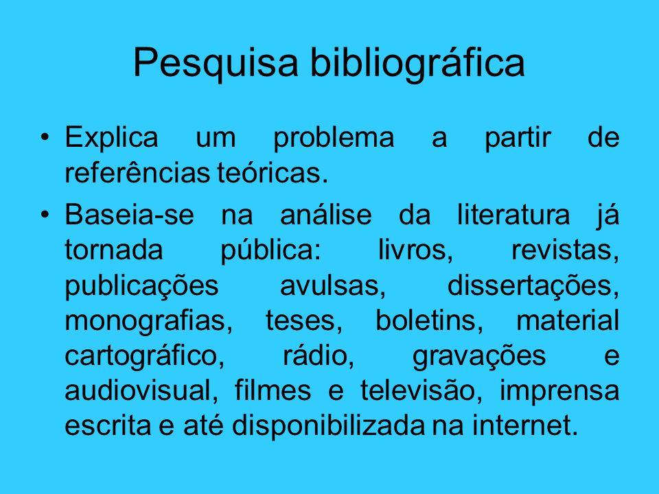 Pesquisa bibliográfica Explica um problema a partir de referências teóricas. Baseia-se na análise da literatura já tornada pública: livros, revistas,
