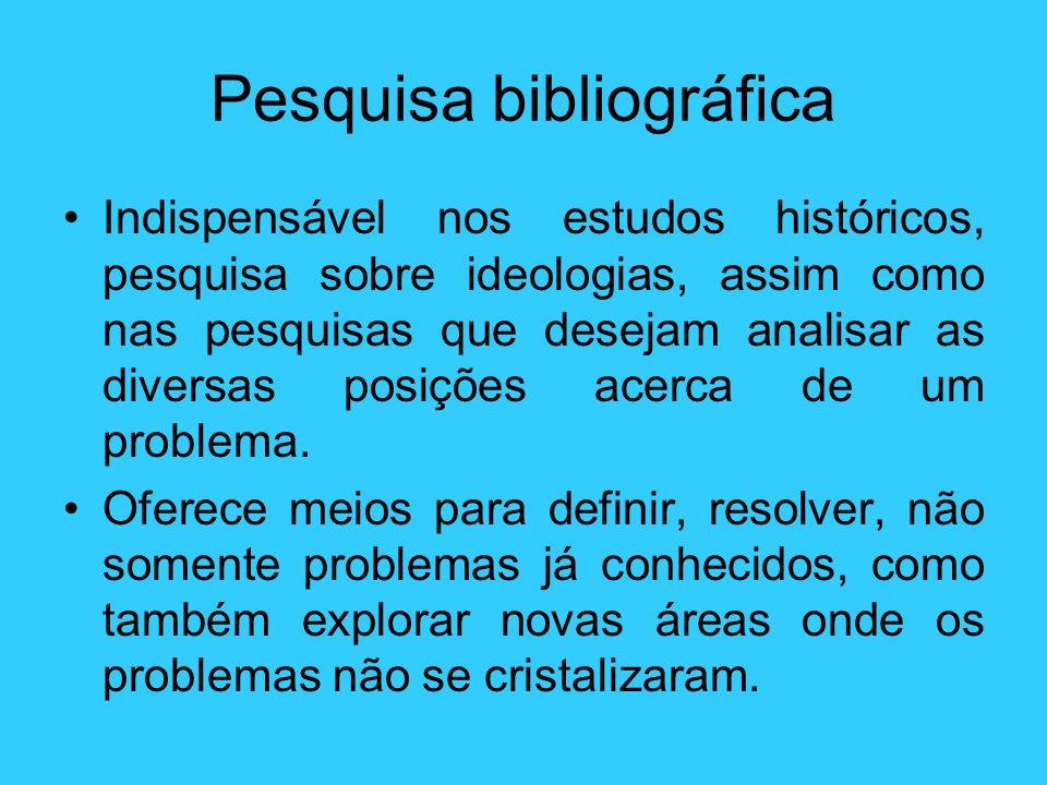 Pesquisa bibliográfica Indispensável nos estudos históricos, pesquisa sobre ideologias, assim como nas pesquisas que desejam analisar as diversas posi