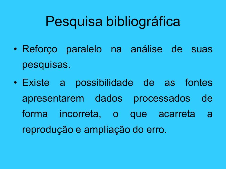 Pesquisa bibliográfica Reforço paralelo na análise de suas pesquisas. Existe a possibilidade de as fontes apresentarem dados processados de forma inco