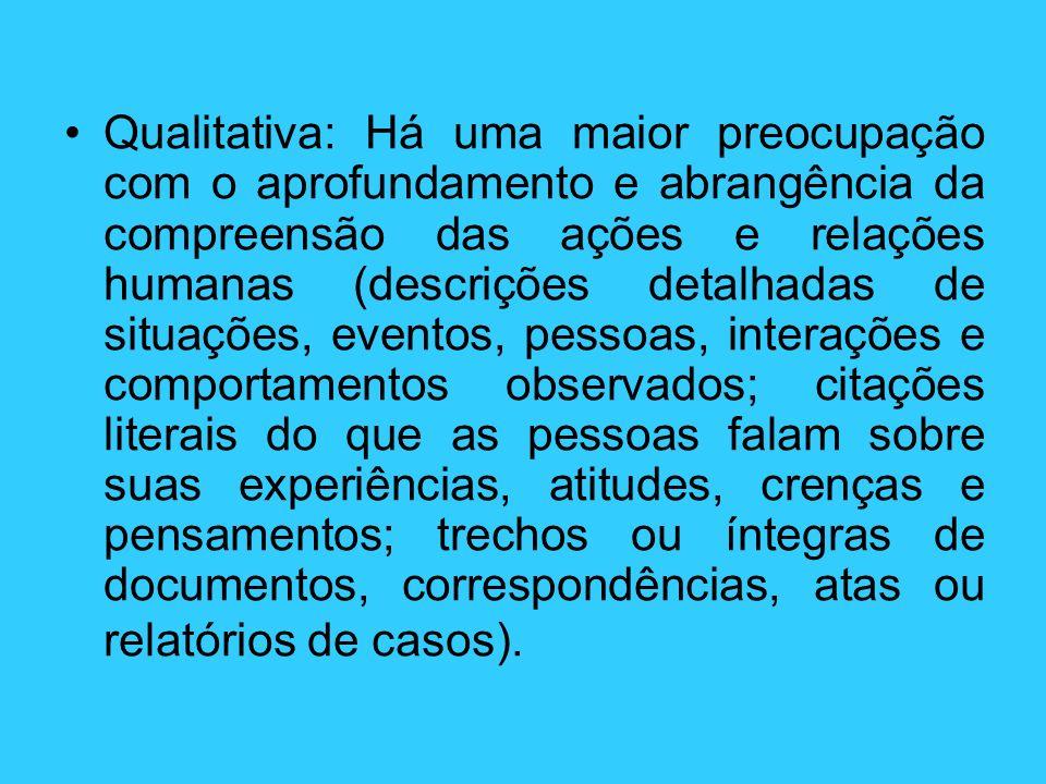Qualitativa: Há uma maior preocupação com o aprofundamento e abrangência da compreensão das ações e relações humanas (descrições detalhadas de situaçõ
