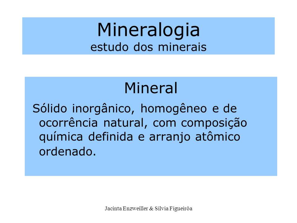 Jacinta Enzweiller & Silvia Figueirôa Mineralogia estudo dos minerais Mineral Sólido inorgânico, homogêneo e de ocorrência natural, com composição quí