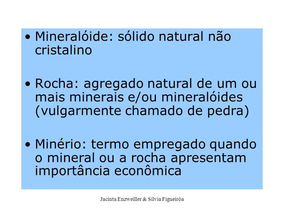 Jacinta Enzweiller & Silvia Figueirôa Mineralóide: sólido natural não cristalino Rocha: agregado natural de um ou mais minerais e/ou mineralóides (vul