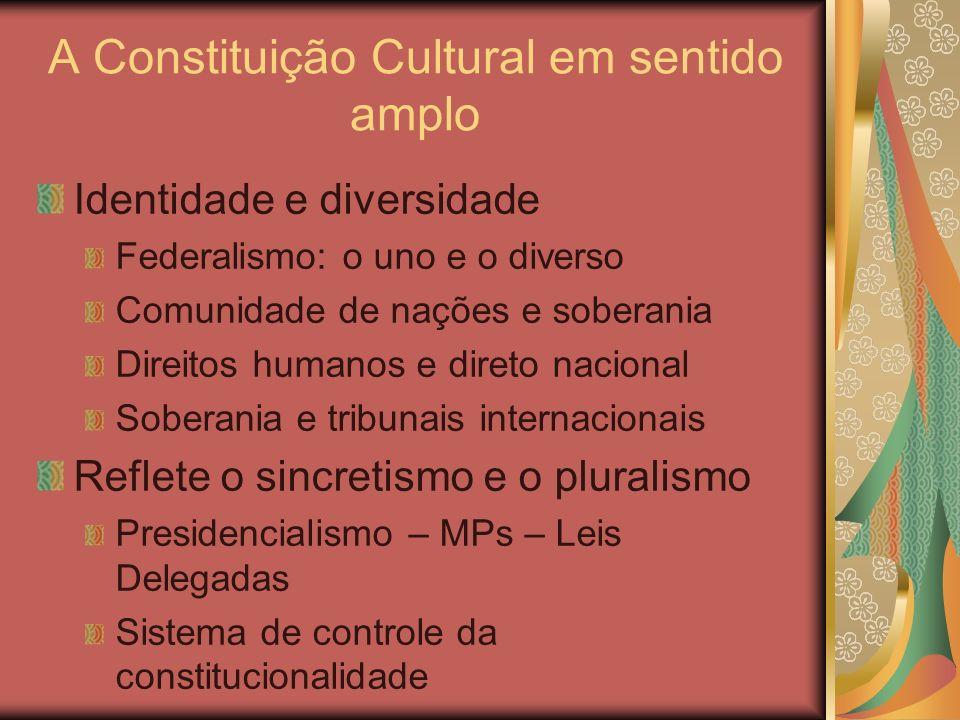 A Constituição Cultural em sentido amplo Identidade e diversidade Federalismo: o uno e o diverso Comunidade de nações e soberania Direitos humanos e d