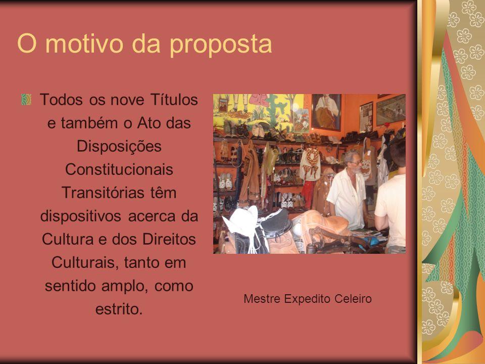 O motivo da proposta Todos os nove Títulos e também o Ato das Disposições Constitucionais Transitórias têm dispositivos acerca da Cultura e dos Direit