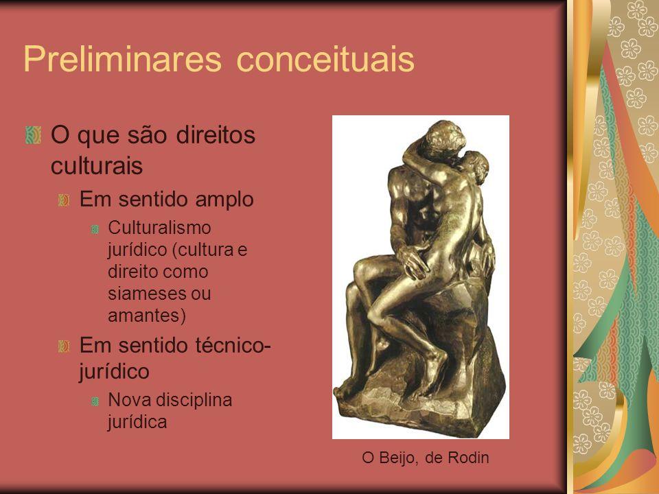 Preliminares conceituais O que são direitos culturais Em sentido amplo Culturalismo jurídico (cultura e direito como siameses ou amantes) Em sentido t