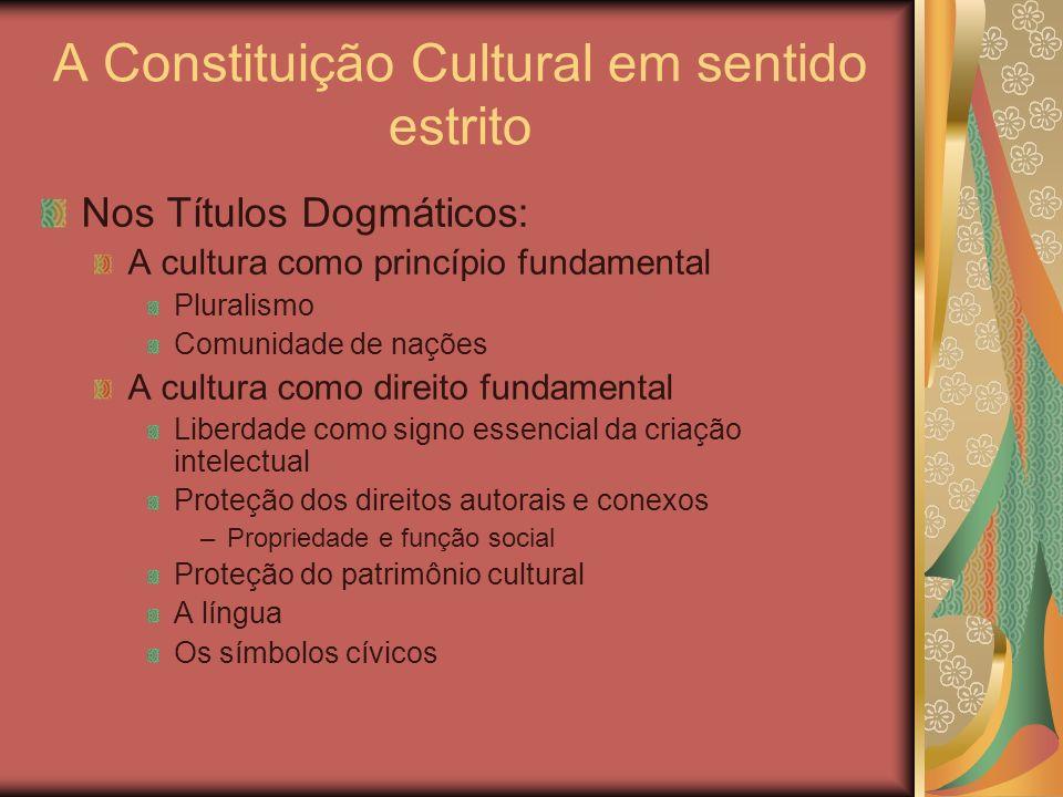 A Constituição Cultural em sentido estrito Nos Títulos Dogmáticos: A cultura como princípio fundamental Pluralismo Comunidade de nações A cultura como