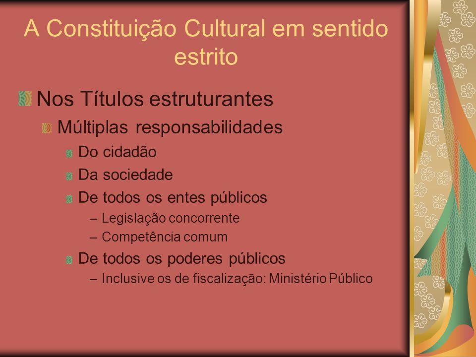 A Constituição Cultural em sentido estrito Nos Títulos estruturantes Múltiplas responsabilidades Do cidadão Da sociedade De todos os entes públicos –L