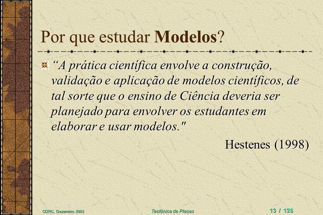CDRC, Dezembro 2003 Tectônica de Placas 13 / 128 Por que estudar Modelos? A prática científica envolve a construção, validação e aplicação de modelos