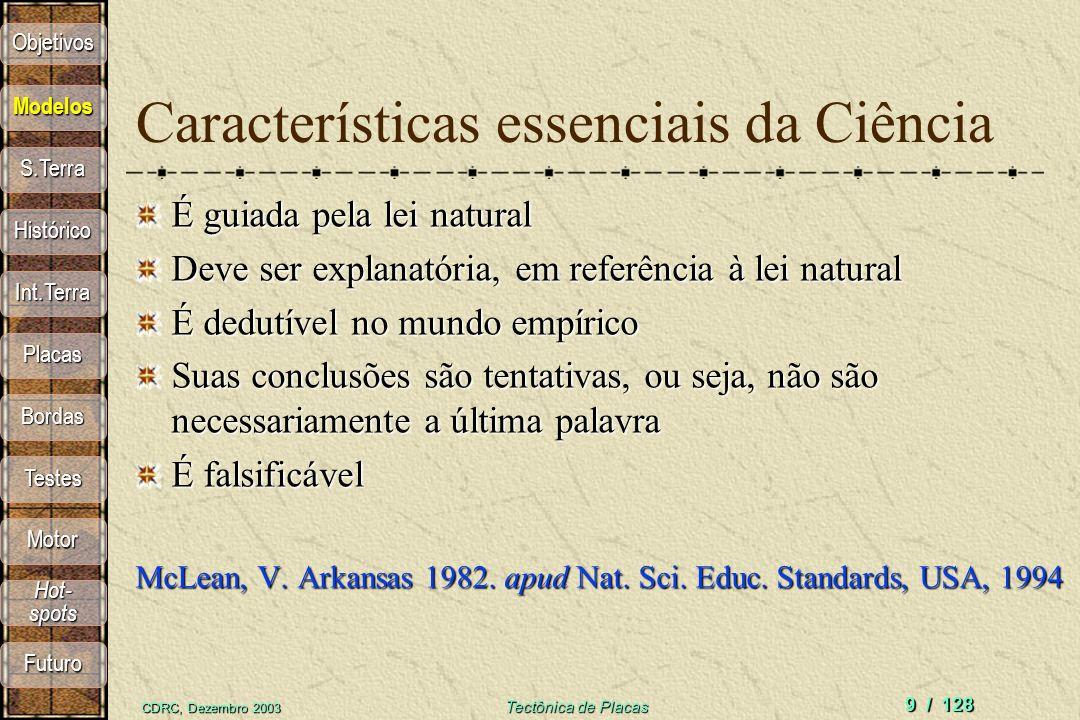 CDRC, Dezembro 2003 Tectônica de Placas 9 / 128 Características essenciais da Ciência É guiada pela lei natural Deve ser explanatória, em referência à