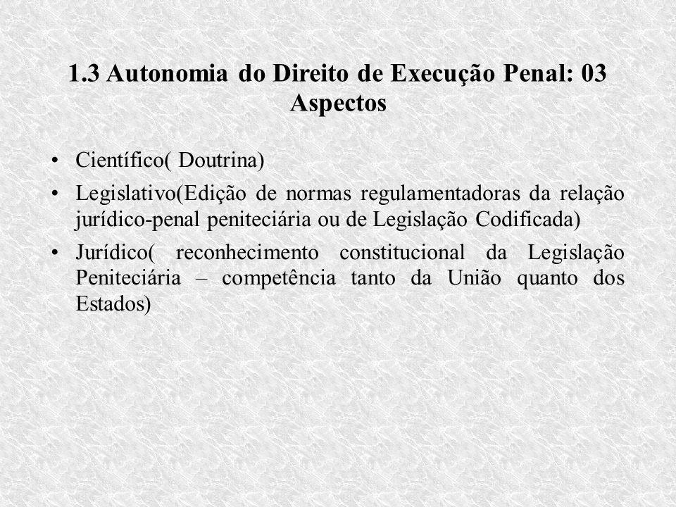 1.3 Autonomia do Direito de Execução Penal: 03 Aspectos Científico( Doutrina) Legislativo(Edição de normas regulamentadoras da relação jurídico-penal peniteciária ou de Legislação Codificada) Jurídico( reconhecimento constitucional da Legislação Peniteciária – competência tanto da União quanto dos Estados)