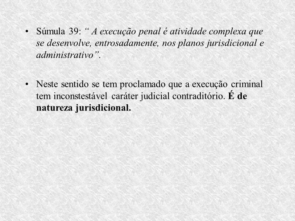Súmula 39: A execução penal é atividade complexa que se desenvolve, entrosadamente, nos planos jurisdicional e administrativo.
