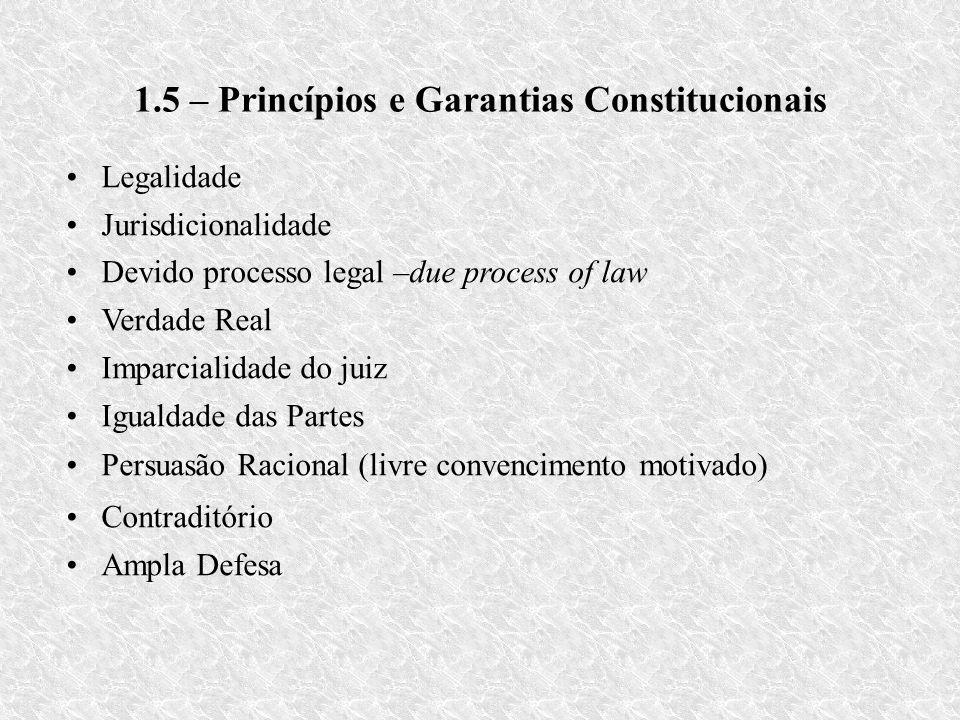 1.5 – Princípios e Garantias Constitucionais Legalidade Jurisdicionalidade Devido processo legal –due process of law Verdade Real Imparcialidade do juiz Igualdade das Partes Persuasão Racional (livre convencimento motivado) Contraditório Ampla Defesa