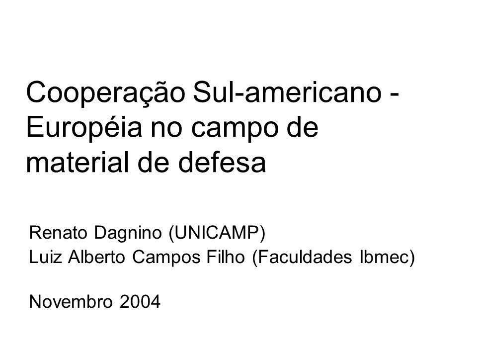 Cooperação Sul-americano - Européia no campo de material de defesa Renato Dagnino (UNICAMP) Luiz Alberto Campos Filho (Faculdades Ibmec) Novembro 2004