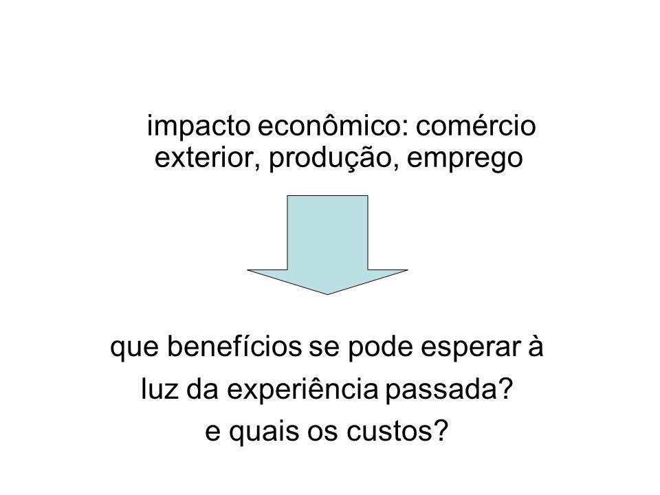 impacto econômico: comércio exterior, produção, emprego que benefícios se pode esperar à luz da experiência passada.