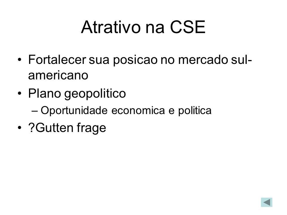 Atrativo na CSE Fortalecer sua posicao no mercado sul- americano Plano geopolitico –Oportunidade economica e politica ?Gutten frage