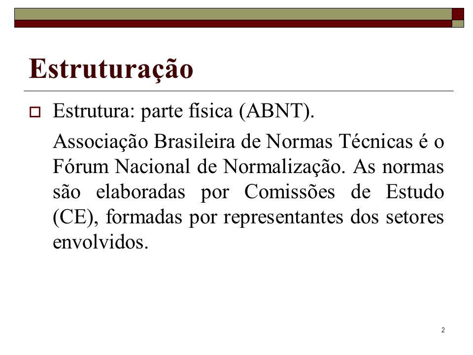 2 Estruturação Estrutura: parte física (ABNT). Associação Brasileira de Normas Técnicas é o Fórum Nacional de Normalização. As normas são elaboradas p