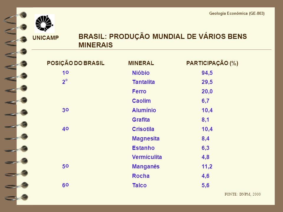 UNICAMP BRASIL: RESERVA DE VÁRIOS BENS MINERAIS POSIÇÃO DO BRASIL MINERALPARTICIPAÇÃO (%) Nióbio88,01 º Tantalita56,9 Caolim28,22 º Grafita21,0 Talco19,03 º Vermiculita8,2 4 o Magnesita5,2 5 o Estanho8,0 Alumínio7,7 Ferro6,4 Lítio1,9 6 o Manganês1,0 FONTE: DNPM, 2000 Geologia Econômica (GE-803)