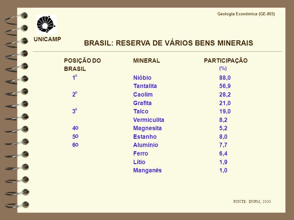 UNICAMP BRASIL: RESERVA DE VÁRIOS BENS MINERAIS POSIÇÃO DO BRASIL MINERALPARTICIPAÇÃO (%) Nióbio88,01 º Tantalita56,9 Caolim28,22 º Grafita21,0 Talco1